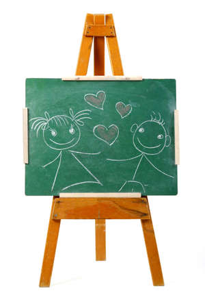 girl and boy in love drawing on chalk board photo
