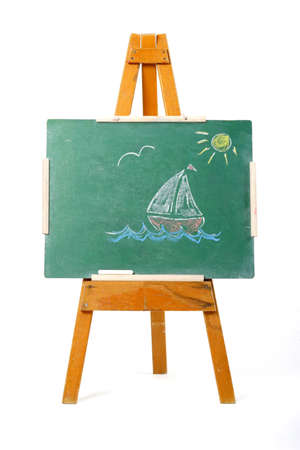 drawing of a sailing boat on a green chalk board Stock Photo - 746940