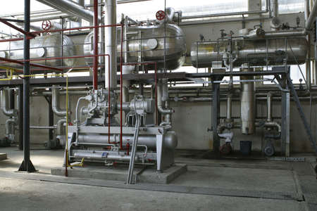 indusrial compressors and pipe work in factory