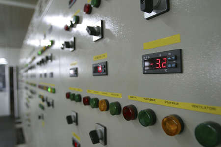 switchgear: industrial electrical switch panel in factory