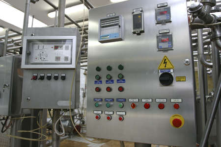 electrical panel: industrial control system in modern dairy factory