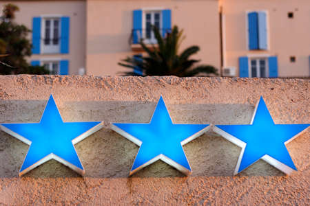 hotel sign: three star hotel sign, corsica, france