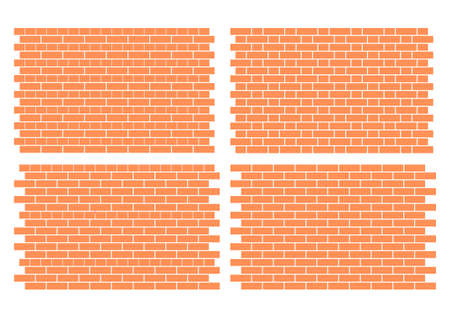 old brick wall: four fully editable vector architectural brick work patterns