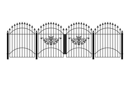 iron fence: wrought iron victorian fence and gates in vector format
