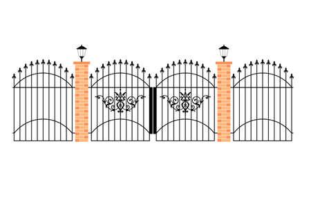 illustration of elegant wrought iron gates with brick pillars and lamps