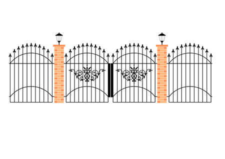 pilastri: illustrazione di eleganti cancelli in ferro battuto con pilastri di mattoni e lampade  Vettoriali