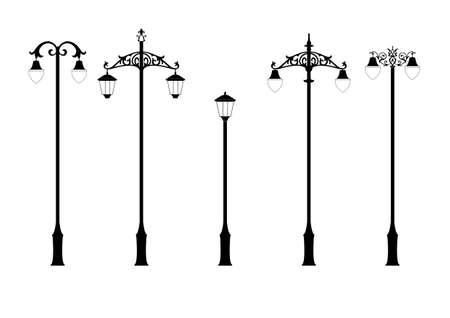 set elegante Victoriaanse stijl lantaarn in vector formaat