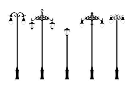 set of elegant victorian style street lamps in vector format Illustration