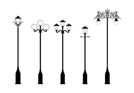 lampposts: conjunto de elegante estilo victoriano farolas en formato vectorial