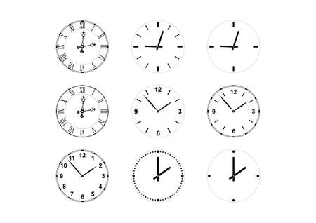 set of vector clock faces and hands including gothic style with roman numerals