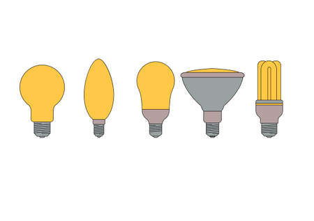 set of five different types of light bulbs with energy efficient bulbs Vector