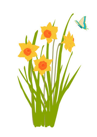 plant in bloom with butterfly Vector