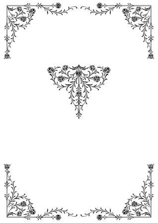 fancy border: Decorative floral frontera y disign elementos