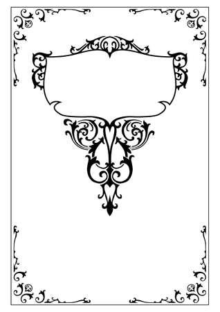 victorian decorative frame and border design elements Illustration