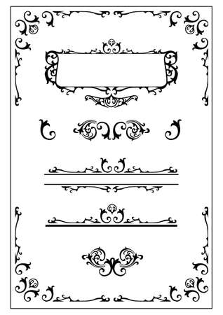 victorian ornamental scroll border, nameplate and design elements