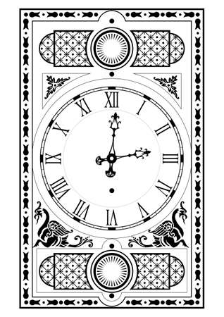 abuelo: elegante reloj victoriano cara y las manos con elementos decorativos