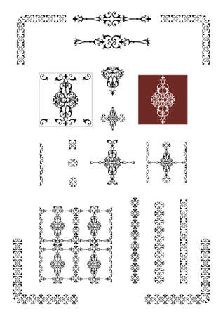 victorian decorative design elements Vector