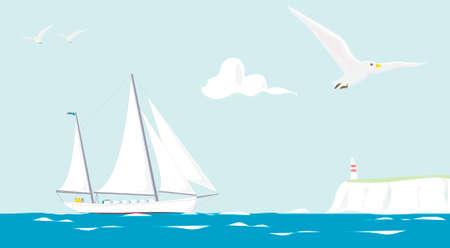 cruising: illustration of a sailing yacht cruising on a summer day
