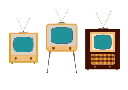 television aerial: tv sets from the 1950s illustrations