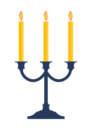 candle holder: candlestick with burning candles illustration