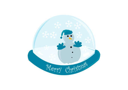 xmass:  snowman trapped in a snow globe illustration