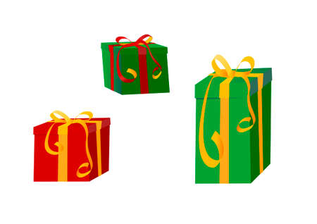 colorful gift wrapped presents with ribbons Stock Vector - 2051443