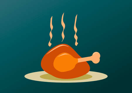chicken dish: roast turkey for Christmas thanksgiving and easter editable illustration