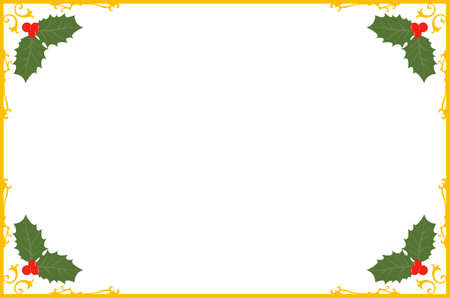 stationary border: ornate christmas gold border with holly berries illustration