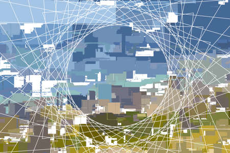 abstract city with grid net background illustration Illustration