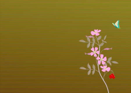 wildrose: wild rose with butterfly on striped background Illustration