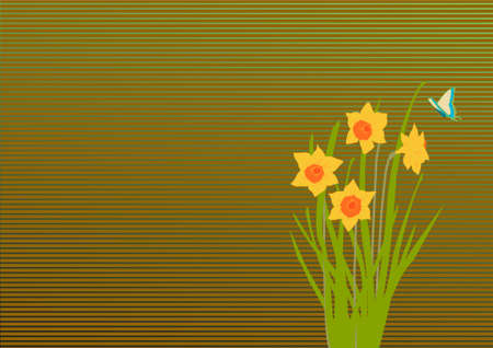 flourishing: dafodil and butterfly on striped background illustration