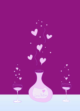 pocion: poci�n de amor botella y dos vasos con burbujas y lovehearts