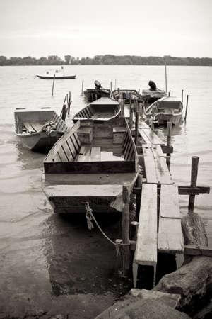 punt: traditonal fishing boats on the river Danube