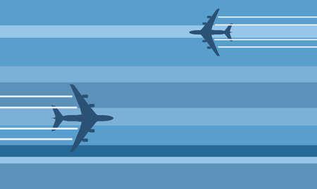 stylized flying aircraft travel illustration Illustration