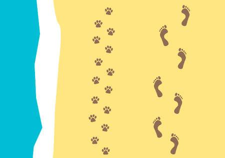 huellas de animales: huellas del hombre y su perro en una playa