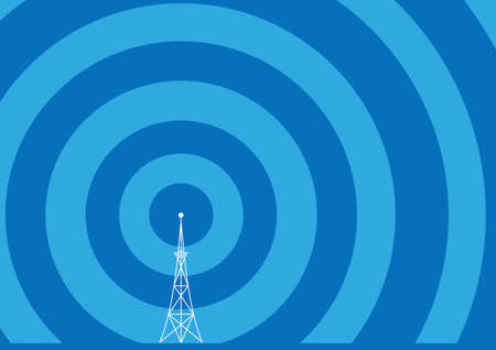 frequency modulation: broadcast tower with transmission waves Illustration