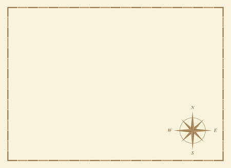 old blank map with compass rose and border Illustration