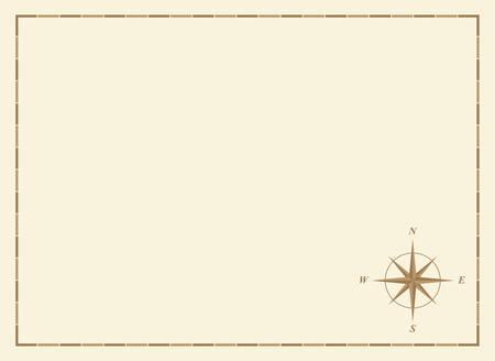 mapa del tesoro: viejo mapa en blanco con rosa de los vientos y las fronteras