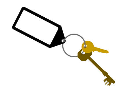 door keys with blank key tag Vector