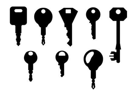 isolated key shapes on white background