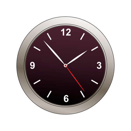 clock face with metalic bevel illustration Vector