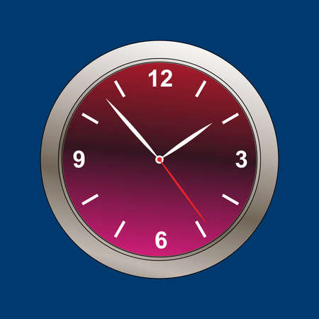 clockface: metallic beveled clock face illustration Illustration