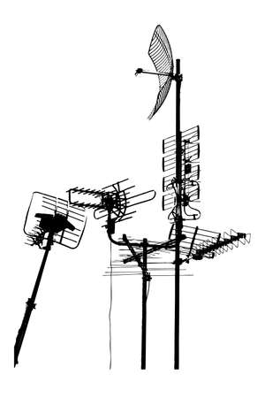 telephone pole: silhouette vector trace of television rooftop antennas Illustration