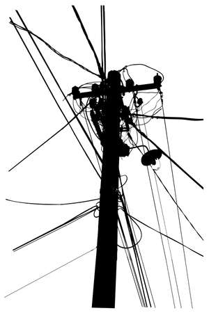 silhouette vector trace of overhead electrical power cables Ilustração
