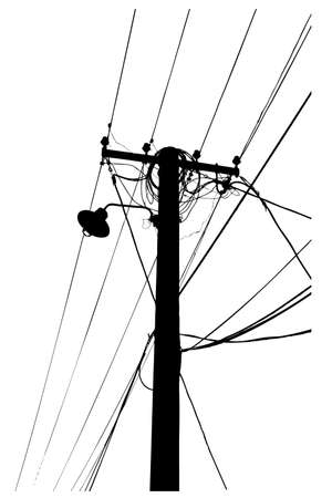 silhouette vector trace of overhead electrical power cables Illustration