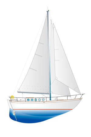 sails: vector illustration of a classic sailing yacht