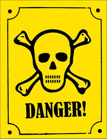 poison sign: a skull and crossbones danger sign