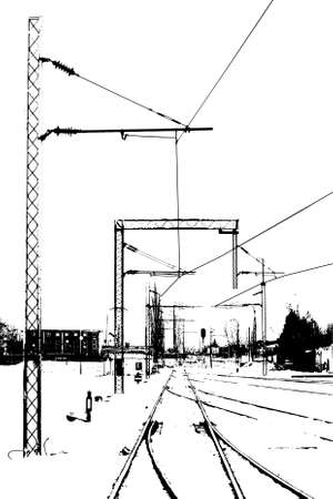 black and white railroad tracks: silhouette of railroad tracks and power cables Illustration
