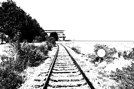 black and white railroad tracks: a grunge railroad background design element