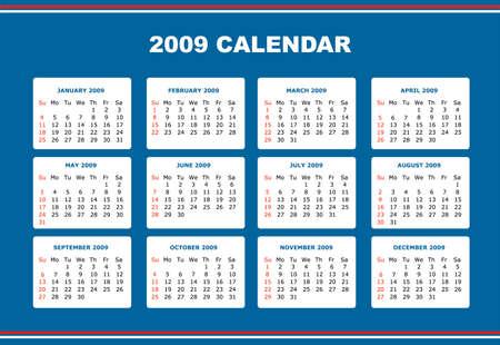 an editable 2009 calendar   Vector